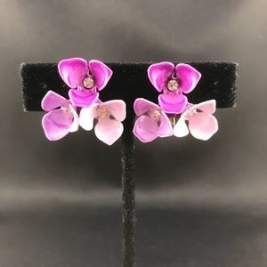 Vintage pink and purple flower clip earrings